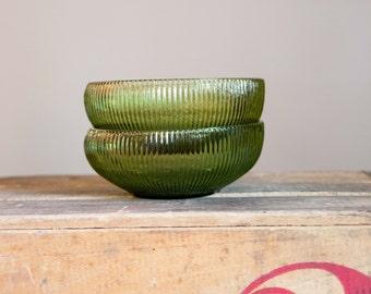 Set of 2 E.O. Brody Co. Green Glass Bowls