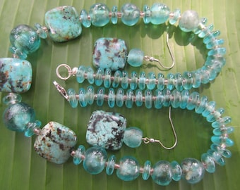 Set of necklace and earrings, African recycled glass, Fair Trade jewelry, handcrafted jewelry