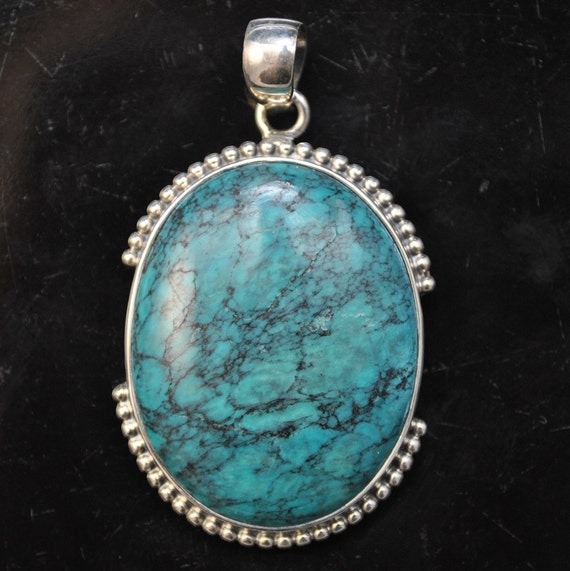 Sterling Silver Tibetan Turquoise Pendant Native American Style #9873