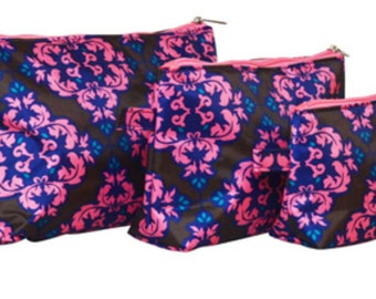 Personalized Cosmetic bags, beautiful pattern, cosmetic bag set, 3 pieces monogrammed set, makeup bags