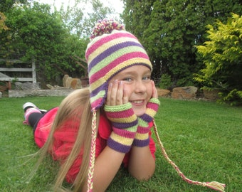 EAR FLAP hat and fingerless mitts PDF knitting pattern, 8 ply, 4 - 10 years, earflap hat, fingerless mitts, matching set, striped hat, mitts