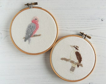 Austrailian birds cross stitch, Laughing kookaburra pattern. galah pattern, cross stitch birds, Australian wildlife art
