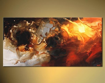 Modern Contemporary Abstract Painting by Osnat Red, Gray, White, Brown Acrylic Painting - MADE-TO-ORDER artwork