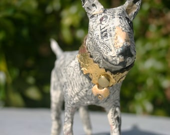 Papier Mache Bull Terrier with a collar of Gilded Leather and a Winning Smile