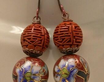 Vintage Chinese RARE Orange Cinnabar Bead Earrings,Vintage Chinese RARE Orange Cloisonne Dangle Blue Flower Bead, Handmade Copper Ear Wires