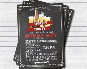 Surprise 30th birthday invitation. 30th birthday Retro beer chalkboard invite. Thirsty thirty printable adult birthday invitation. AB005