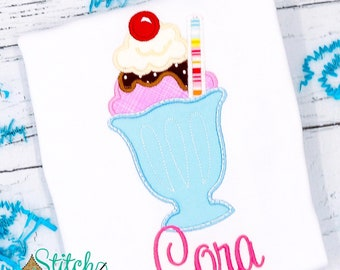 Ice Cream Applique, Hot Fudge Sundae Applique, Milk Shake Applique, Ice Cream Shirt, Sundae Shirt, Milk Shake Shirt
