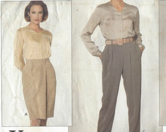 1990s Calvin Klein Womens Wrap Skirt and Pleated Pants Vogue Sewing Pattern 2832 Size 18 20 22 Hip 42 44 46 FF Vogue American Designer