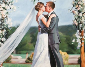 Wedding Portrait Custom Gift Wedding Anniversary Gift Personalized Oil Painting