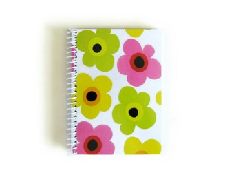 Spring Flowers Notebook A6 Spiral Bound - Writing Journal Blank Sketchbook, Modern Flowers, 4x6 Inches Pocket, Back to School Gifts Under 20