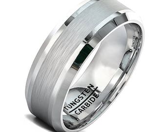 Men's 8mm Silver Tungsten Ring with Polished Beveled Edges, Silver Wedding Engagement Band, Men's Wedding Ring, Sizes 7 to 15