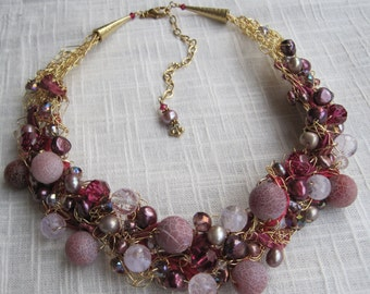 Artisan Statement Necklace - Plum, Fuchsia, Wire Crochet with Natural Stones, Freshwater Pearls, and Crystals