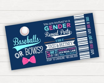 Baseball Gender Reveal, Gender Reveal Invitation, Baseball Gender Reveal Invitation, Baseballs or Bows, Baseball Reveal