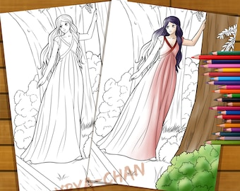 Coloring Pages Of Gothic Princesses : Princess coloring etsy