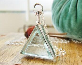 glass photo locket / clear locket/ trangle glass heirloom locket sterling silver / boho fashion necklace