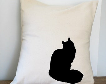 Maine Coon Cat Pillow Cover Natural Color Canvas with Black Cat Shape 18x18 Inch Cover Made to Order