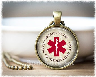 Breast Cancer Medical Alert •  Medical Alert Necklace • No BP Or Needles Right Arm • Medical Alert Cancer • Medical Jewelry