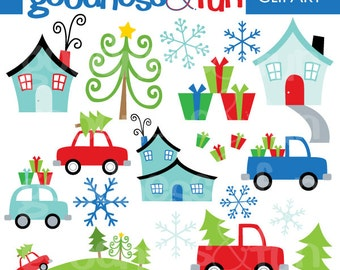 Buy 2, Get 1 FREE - Home for the Holidays Clipart - Digital Winter Christmas Clipart - Instant Download