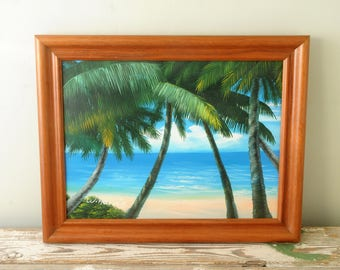 Vintage Tropical Painting Palm Tree Ocean