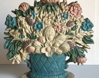 Vintage Cast Iron Doorstop Floral Design Original Paint/ Victorian Doorstop