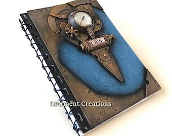 Steampunk Notebook Time Machine Blue