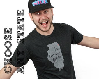 state tshirt, choose your state, illinois tshirt, neutral, silkscreen shirt, men's tshirt, men's gift idea, free ship