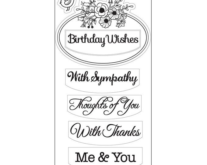 New! Sizzix Interchangeable Clear Stamps - Flower Label w/Phrases by Jen Long