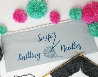 Personalised Knitting Needle Case; Brush Lettered Knitting Needle Case