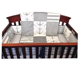 Gray Anchor Crib Set with Bumpers -4 Piece Set- Gray Navy