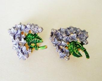 Vintage Purple & Green Lilac Flower Clip On Earrings