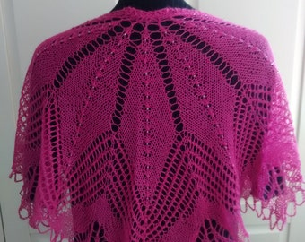 Hand knitted beaded lace shoulder shrug-silk / alpaca mix- understated elegance for everyday wear-Fuchsia Pink