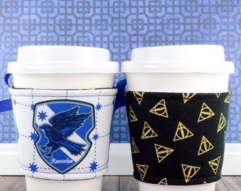 Harry Potter Cup Cozy // Ravenclaw House Cup Cozy // reversible // adjustable // cold drink cozy // drink sleeves // reusable
