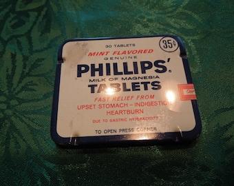 Vintage Phillips Milk of Magnesia Tablets Medicine Tin