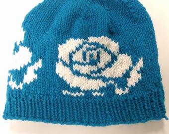 Rose Knit Hat // Flowers, Garden, White Rose patterned knit hat