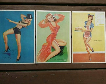 Vintage Pin Up Prints - Lot of 3 - Meredith Law Some Dish - The Awakening - Billy Devorss Fast Stepper