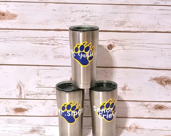 Personalized Paw Print Tumbler Decal