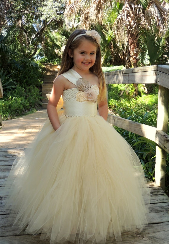 Items similar to Flower Girl Dress- Beige Flower Girl tutu dress ...