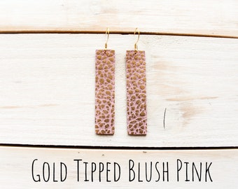 Genuine Leather Drop Earrings ~GOLD BLUSH PINK~