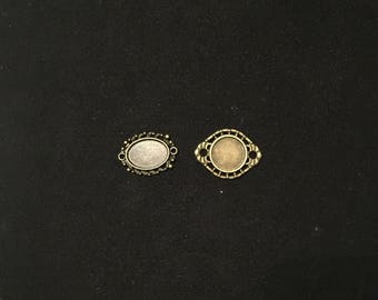 2 cabochon oval and round shapes connectors antique bronze