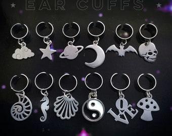 EarCuffs, Ear cuff, Single Moon, Star Bat, Skull, Saturn, YinYang, Seahorse, Seashell, Love, Sold INDIVIDUALLY