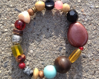 Redesigned One-of-a-Kind Recycled Bead Bracelet - Unique Elastic Earth Nature Inspired Colorful, Fun, Trendy 1mm Stretchy Bracelet