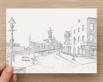 Ink sketch of Navy Ship in Fells Point, Baltimore - Fleet Week, Drawing, Art, Pen and Ink, 5x7, 8x10, Print, Black and White, Architecture