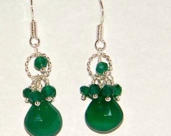 Green onyx earrings, sterling silver earrings, green cluster earrings, green onyx jewelry