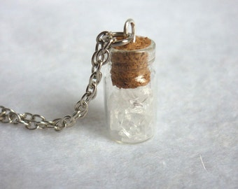 Icy White Crystal Vial Necklace