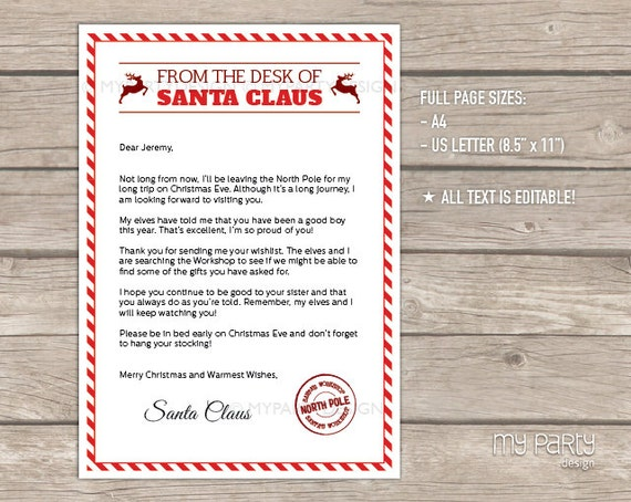Letter from santa kit with envelope template red christmas letter from santa kit with envelope template red christmas santa claus instant download printable pdf with editable text spiritdancerdesigns Choice Image
