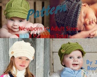 NEW! Newsboy Hat PATTERN- Newsboy Hat Tutorial - newborn to adult sizing - Baby Newsboy Hat Pattern - Crochet Newsboy Hat - by JoJosBootique