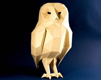 Owl Model , Owl Low poly, Owl Sculpture, Owl paper , Papercraft Kit, DIY , 3D Paper Crafts animals