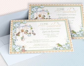 PETER RABBIT BABY Shower Invitation Custom Blue Green Yellow digital announcement baby shower gender neutral 1081