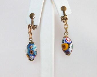 Antique Millefiori Glass Bead Dangle Earrings with Clipbacks