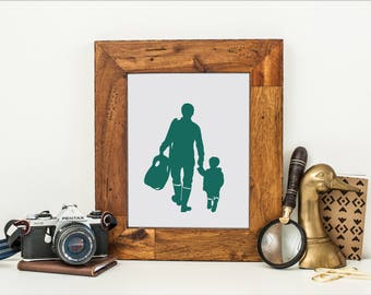 Custom Father Child Silhouette Print -  with 2 figures (family, father, grandfather & child) - Christmas Gift - Family Portrait